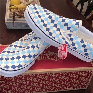 Vans Blue & White Checkered Classic Slip-Ons